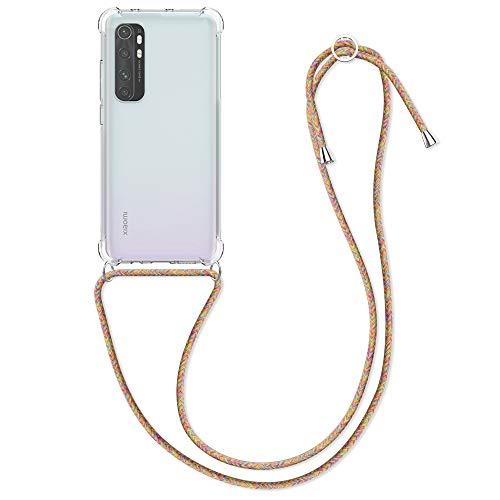 kwmobile Schutzhülle kompatibel mit Xiaomi Mi Note 10 Lite - Hülle mit Kordel zum Umhängen - Silikon Handy Hülle Mehrfarbig Transparent