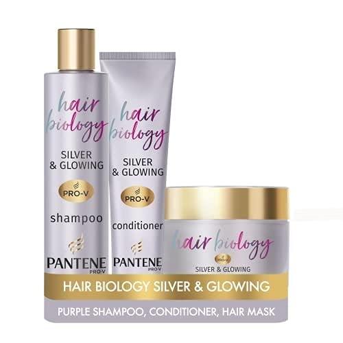 Pantene Pro-V Hair Biology Grey & Glowing Shampoo and Conditioner Set, with Jojoba, Purple Shampoo...