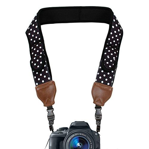 USA Gear Correa para Cámara de Fotos de Neopreno. para Camaras Reflex, Evil y Compactas. Compatible con Canon, Nikon, Sony, Olympus, Pentax, Fujifilm, Samsung y Muchas más, Diseño con Lunares.