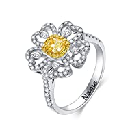 {CANARY ENGAGEMENT RING} The engagement ring with total 0.83ctw diamond stones, with Level Fancy Yellow & SI Clarity yellow diamond. With brilliant good cushion cut, the diamond stone has good blinking and shimmering and fire. {DESIGNED FOR ENGAGEMEN...