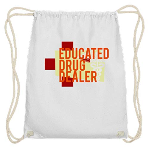 SPIRITSHIRTSHOP Spiritshop - Drug educated - o Apotheker - Algodón Gymsac, color Blanco, tamaño 37cm-46cm