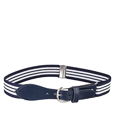 HOLD'EM Kids Toddler Belt Leather Closure Elastic - Navy Striped With Navy Leather