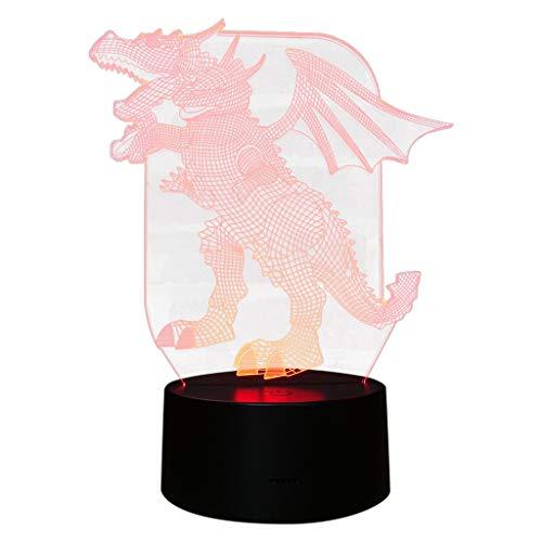 Janly Dinosaur 3D Luz nocturna Lámpara de escritorio de mesa 7 colores 3D Ilusión óptica luces por Janly