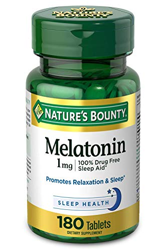 Melatonin by Nature's Bounty, 100% Drug Free Sleep Aid, Dietary Supplement, Promotes Relaxation and Sleep Health, 1mg, 180 Tablets