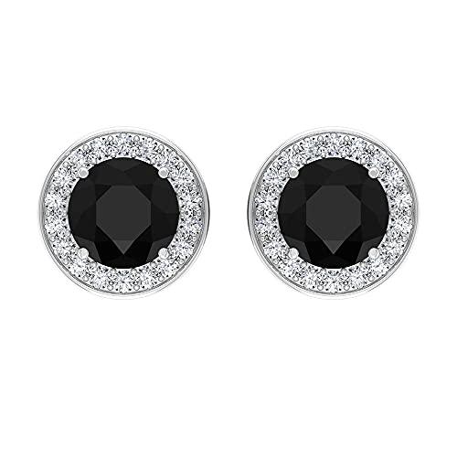 Piedra de nacimiento de julio — 1,75 ct Onyx negro solitario pendientes de tuerca con halo de diamante, 14K Oro blanco, Par