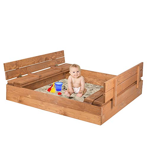 SPRINGOS Sandkasten mit Sitzbank und Abdeckung Kindersandkasten 120 cm x 120 cm Holzsandkasten imprägniert Spielplatz Gartenspielgerät