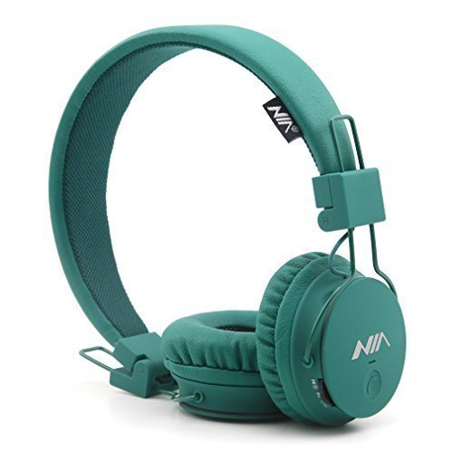 Wireless Headphones, GranVela X2 Lightweight Foldable Multifunction Headphones with FM Radio, TF Card Player, Microphones,Detachable Cable and Sharing Port. (Deep Green)