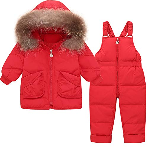 CARETOO Kinder Mädchen Winterjacke Daunenmantel mit fest Kaputze 2tlg Verdickte Daunenjacke + Daunenhose + Daunenschale Bekleidungsset (Rot, Etikett 90(Körpergröße 85-95))