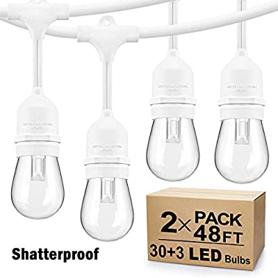 2 Pack 48Ft LED Outdoor String Lights, Dimmable Patio String Lights Waterproof, Commercial Grade&Shatterproof, 2700K, White Cords, 15 Hanging Sockets, 3 Spare Bulbs, for Backyard, Gazebo (Total 96FT)