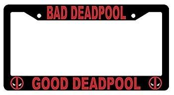 First Rober Bad Deadpool Good Deadpool Black Metal License Plate Frame Deadpool