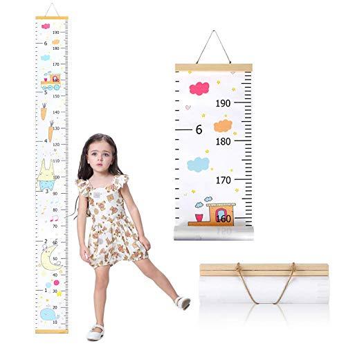 Messlatte für die Wand, Maßlatte aus Leinwand und Holz für Kinder, Messlatte als Perfekte Wand-Dekoration für Kinderzimmer, Babyzimmer, Kinder-Schlafzimmer, mit Seil zum Aufhängen