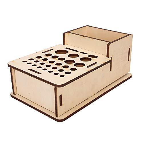 Estante de madera para herramientas de artesanía en cuero, organizador de herramientas de cuero de madera con orificios múltiples, soporte para herramientas de estampado y perforación, 24x14x9.6cm