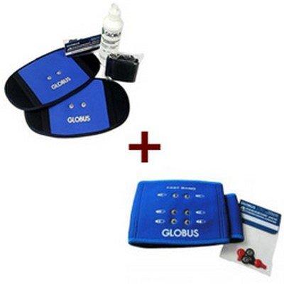 Globus G0488, Kit Fast Body Fascia Cuscino elettrostimolatore Addominali Glutei Schiena Unisex Adulto, Azzurro, Unica