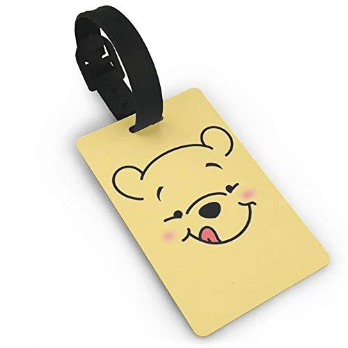 DNBCJJ Etiquetas de equipaje para maletas Winnie The Pooh lamiendo la lengua etiqueta de equipaje, con nombre ID maleta para mujeres, hombres, niños, accesorios de viaje
