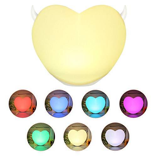 YFWDY bedlampje nachtlampje stopcontact baby kinderlamp nachtlampje led kleurrijke lampjes, hartvormige siliconenlamp, creatief cadeau