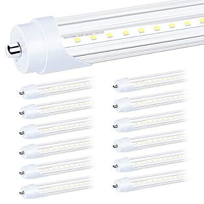 SHINESTAR 12-Pack 8FT LED Bulbs 44W, LED Shop Light 6500K Super Bright, LED Replacement for Fluorescent Tube Light T8 T10 T12, Dual End Ballast Bypass, Single Pin FA8 Base