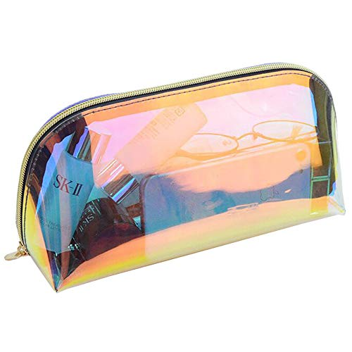 Holographic Makeup Bag, Iridescent Travel Cosmetic Bag Large Capacity Toiletry Bag Waterproof Portable Makeup Organizer for Women,Shell Shape
