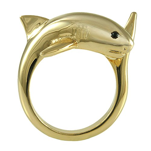 Ellenviva Enhanced Big Shark Animal Wrap Ring Gold-Plated Shiny Gold Tone- Size 7 22k Gold Fancy Ring