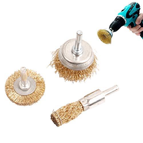Juego de cepillos de alambre para rueda de alambre para taladro perfecto para eliminar el óxido, la corrosión y la pintura