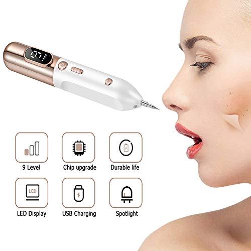ZJJGRASS vlekverwijdering, spot Eraser Pro intensiteit, 9 standen, visstift, voor vlekken, tatoeages, wratten en mole remover pen met led-display en verwisselbare naalden