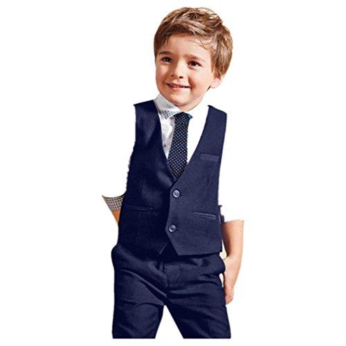 Kobay Kleinkind scherzt, Baby-Jungen-Herr-Hochzeits-Klage-Hemden + Weste + lange Hosen + Bindung Kleider 1Set (5Jahre, Blau)