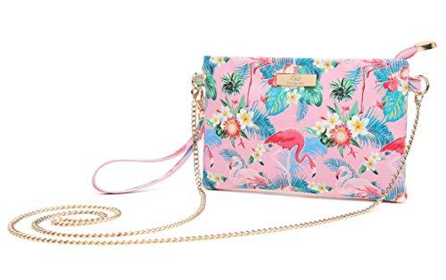 Aitbags MIni Soft PU Leather Wristlet Clutch Purse Crossbody Bag with Chain Strap Cell Phone Handbag - Pink Flamingo