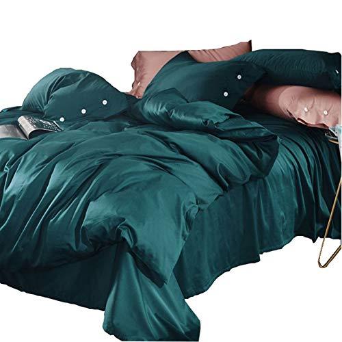 LITHAPP 60 Tribute Coton Satin à Longues Fibres 4 PièCes Coton 1,8M Lit Double Couleur Unie Housse De Couette Textile De Maison,Green-1.8mbed