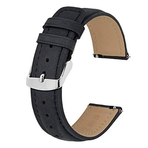 BISONSTRAP 19mm Correa de Reloj con Cierre Rápido, Correas de Repuesto de Cuero Retro (Negro)