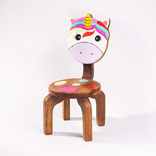 Kinderstuhl, Kinderhocker, massiv aus Holz mit Tiermotiv Einhorn, 25 cm Sitzhöhe für unsere Kindersitzgruppe