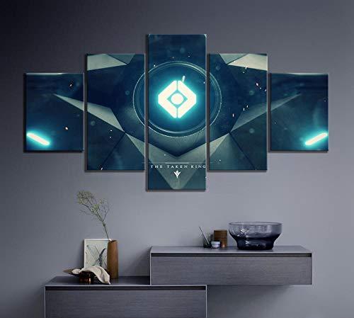 caomei 5pcs Spacecraft Destiny 2 Game Poster Pinturas HD Cuadro de Pared Lienzo Arte de Pared Posters e Impresiones Decoración para Sala de estar-30x40x2 30x60x2 30x80cm (sin Marco)