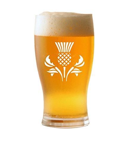 1 pint Tulp Bierglas met Schotse distel ontwerp