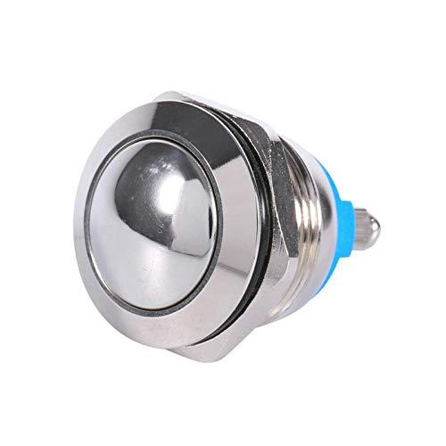 Interruptor de botón pulsador, interruptor de botón momentáneo de metal impermeable para coche de 19 mm, interruptor de botón pulsador de enganche redondo de 12V
