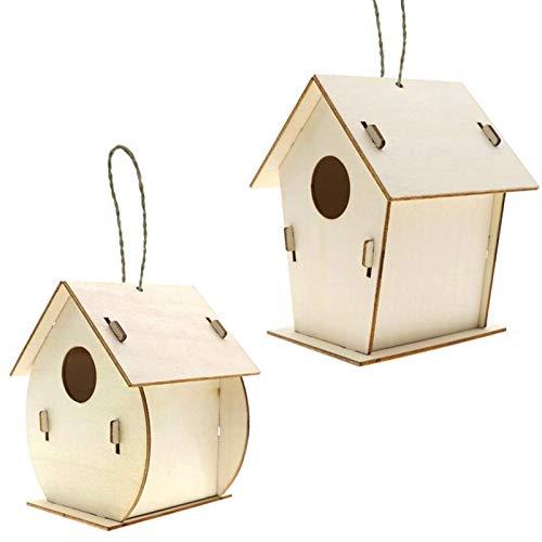 Paquete de 2 kits de casa de pájaros sin terminar para niños y adultos, fácil montaje, pintura no tóxica, juego de casitas para pájaros, nido de pájaro de madera, pintado a mano, grafiti, juguete