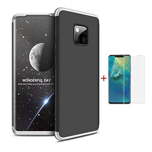 SHYHONG Compatible hoes Huawei Mate 20 Pro hoes 360 ° telefoonhoes PC harde schaal beschermhoes anti-shock bumper 360 graden hoes mat beschermhoes (zilver zwart 3) + 2 * HD helder flexibele folie