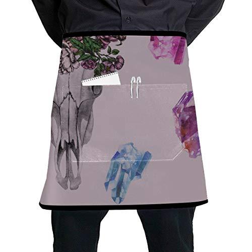N\A Personalisierte Kellnerin Schürze Verschiedene menschliche Schädel halbe Kurze Schürze mit großer Tasche Unisex für die Küche Handwerk Grill Zeichnung