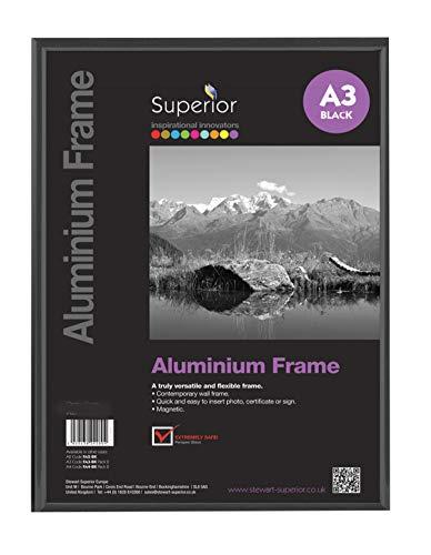Stewart Superior A3 Bilderrahmen aus gebürstetem Aluminium mit Plexiglas - Schwarz
