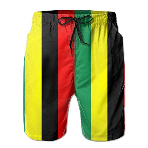 NA Rasta Jamaica Raggae Herren Badehose Beach Shorts mit Mesh Futter Boardshort XXL