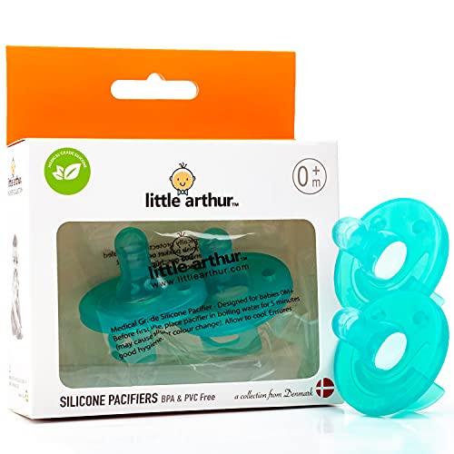 Chupete para bebé recién nacido Little Arthur ™ | 0-6 meses | Silicona de grado médico | Respeta el desarrollo de los dientes, estimula las habilidades motoras y sensoriales (paquete de 2)