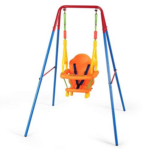 DREAMADE Kinderschaukel mit Schaukel Gestell Set 3 in 1, Kinderschaukel für Outdoor & Indoor, Babyschaukel Set Gartenschaukel , Kinder Schaukelsitz Babyschaukelsitz mit Schaukelgestell