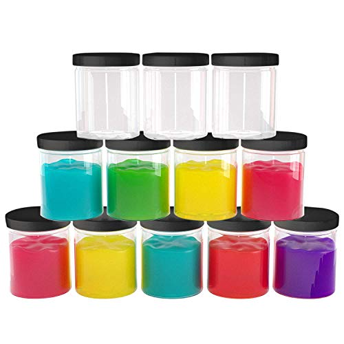 6 oz Plastic Jars with Lids (12 pack) - Clear Empty Containers for Body Lotions, Creams, Butters - Great for Storage and Organization of Crafts, Teas, and Spices