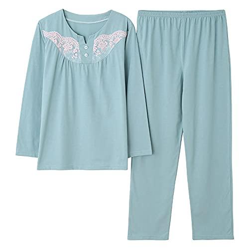 DFDLNL Trajes de salón, Pijamas de Primavera para Mujer, Ropa de Dormir Floral, Pijama de Manga Larga para Mujer, Ropa de casa de algodón para niñas, Ropa de Dormir XXXL