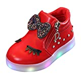 ELECTRI Enfants Baby Infant Girls Crystal Bowknot LED Bottes Lumineuses Sport Chaussures Arc Cristal Animation de Bande dessinée Sneakers