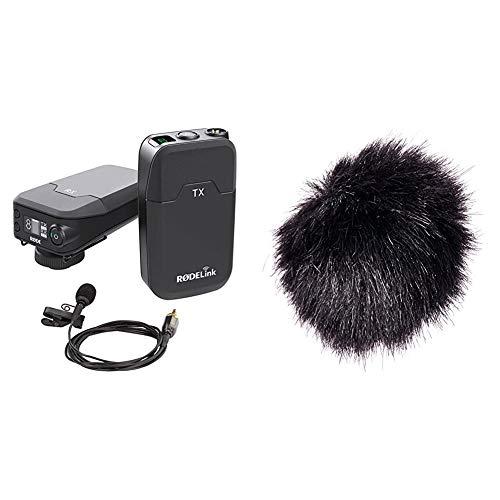 Rode microphones Filmmaker KitSistema de microfónica inalámbrica (Alcance 100 Metros, Pantalla OLED), Color Negro + MINIFUR-LAVProtector para Cortavientos de micrófono (3 Unidades), Color Negro