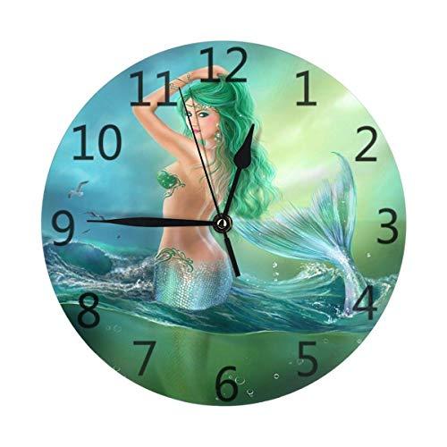JONINOT Cuento de Hadas Sirena Chica Reloj de Pared Redondo Que no Hace tictac Funciona con Pilas para la Oficina del Estudiante, la Escuela, el hogar, el Reloj con Temporizador