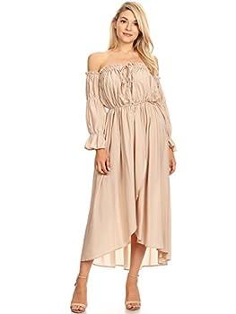 Anna-Kaci Womens Casual Boho Long Sleeve Off Shoulder Renaissance Peasant Dress Beige Small