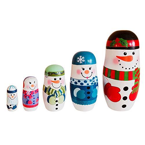 kangOnline Matrjoschka-Puppe, Weihnachts-Schneemann, Matroschka, für Kinder, Spielzeug, Geschenke, 5 Stück