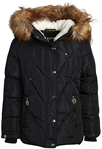 DKNY Girls' Winter Coat - Puffer Ski Jacket with Removable Faux-Fur Trimmed Hood, Black, Size 10/12
