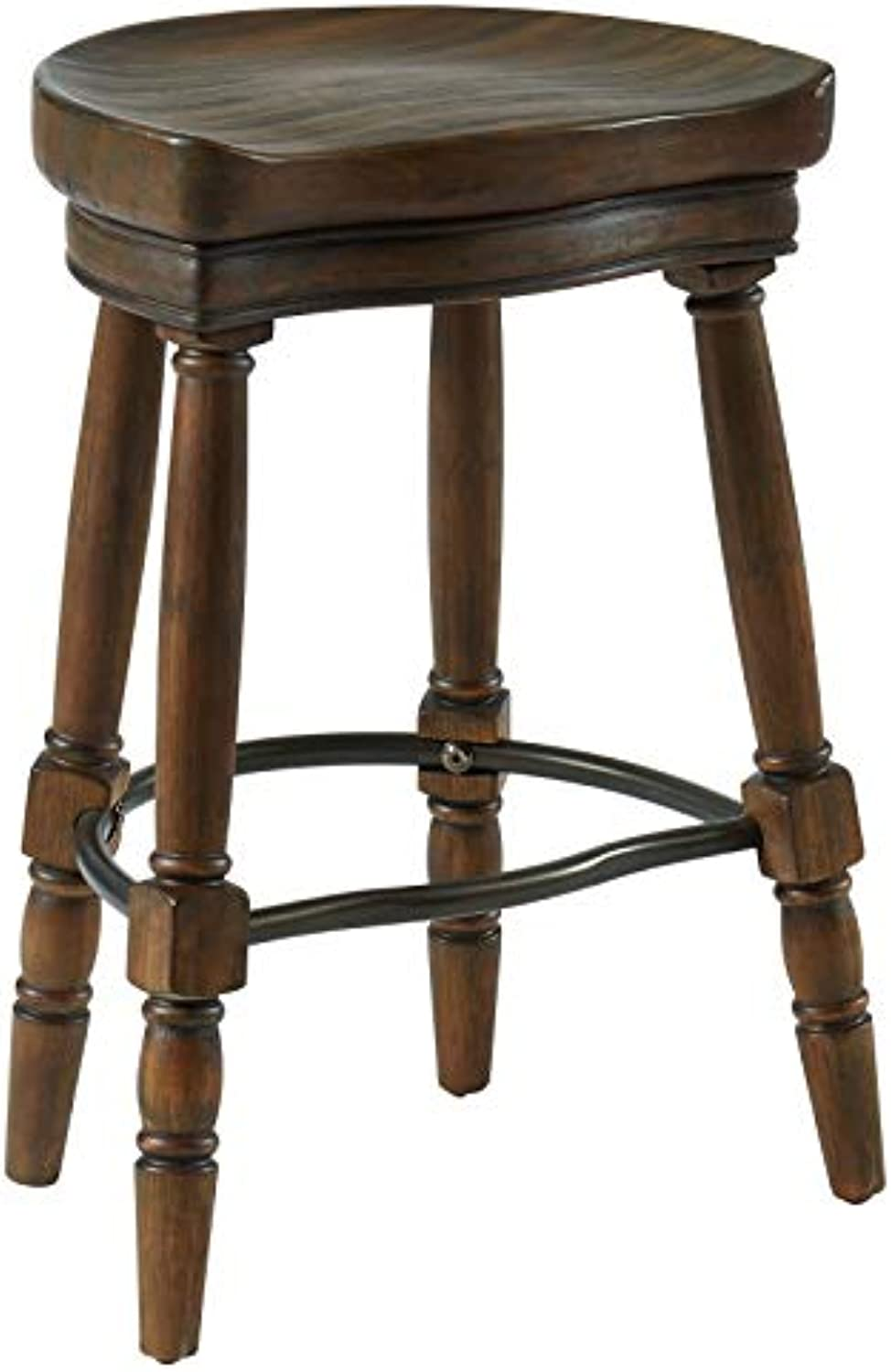 Pirnak Traditional Solid Wood & Metal 26'' Counter Stool in Rustic Oak