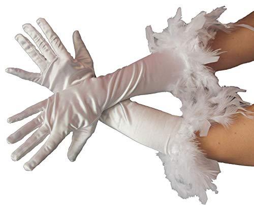 narrenkiste B030122 weiß Damen Satin Handschuhe lang mit Federrand