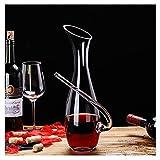 AIFCX Suministros de Vino Decantador de Vino con asa Manual soplado de Vino Tinto Decanter Jarrafeza Vierte fácil, Regalos de Vino Mujer Hombre 1200ml